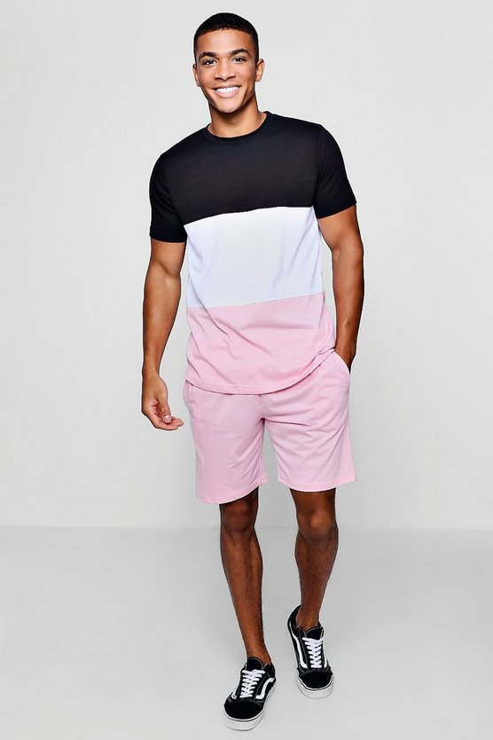 Colour Block T-Shirt & Short Set