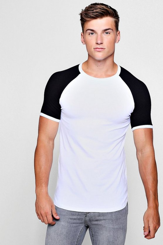 Muscle Fit Raglan T-Shirt With Curve Hem