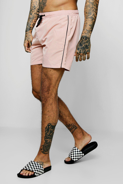 Купить Shorts, Mid Length Swim Short With Piping, boohoo