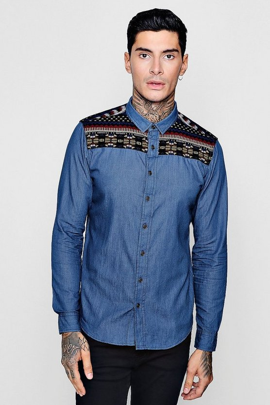 Long Sleeve Denim Shirt With Aztec Embroiderey
