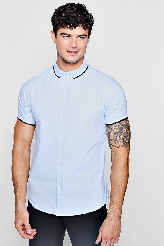 Short Sleeve Oxford Shirt With Tipped Collar
