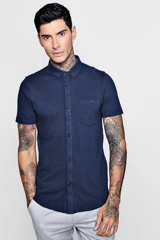 Short Sleeve Cotton Pique Jersey Shirt