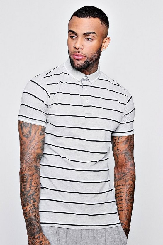 Stripe Pique Polo With Sports Rib