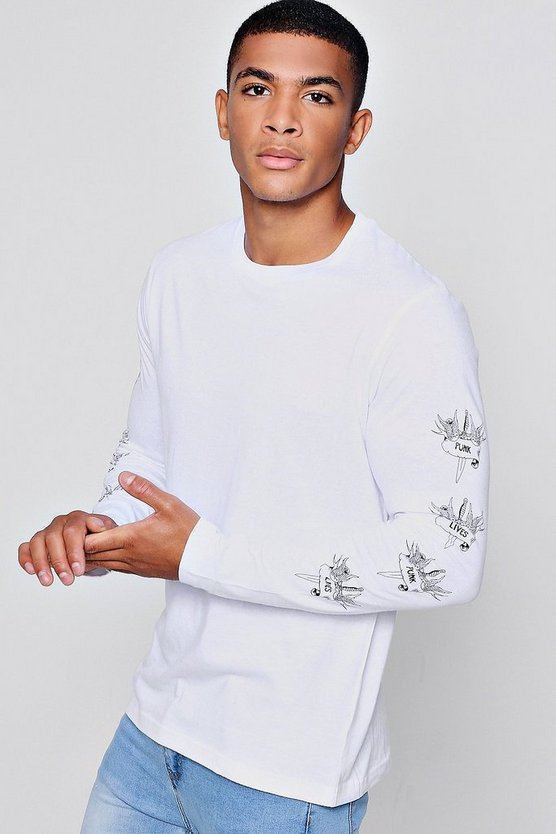 Long Sleeve Crew Neck T-Shirt With Sleeve Print