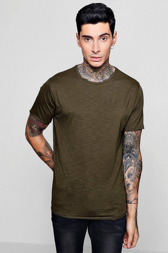Hem Detail Crew Neck Slub T-Shirt