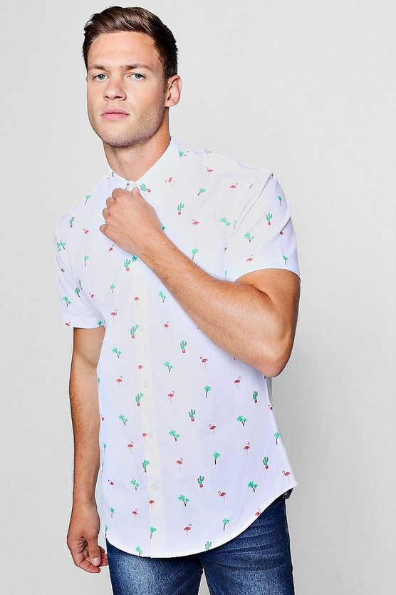 Flamingo Print Short Sleeve Shirt