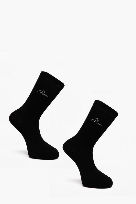 2 Pack MAN Embroidered Socks