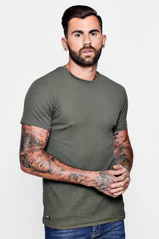 Muscle Fit Ribbed T-Shirt