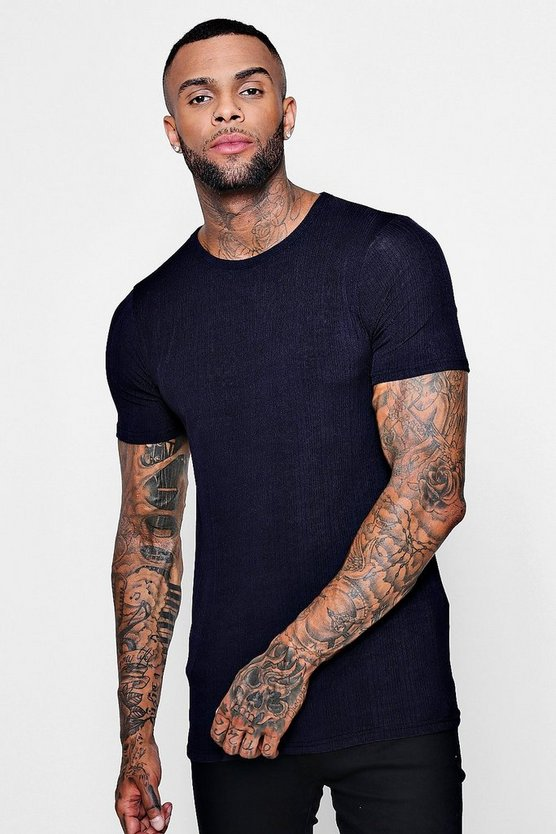 Muscle Fit Fine Ribbed T-Shirt
