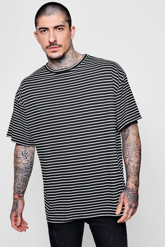 Oversized Stripe Ribbed T-Shirt