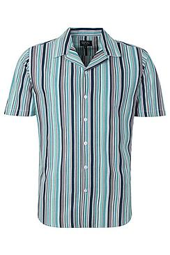 Block Stripe Short Sleeve Revere Shirt