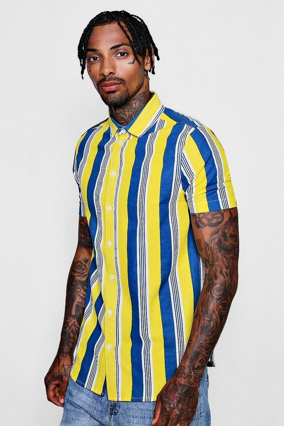 Neon Block Stripe Short Sleeve Shirt