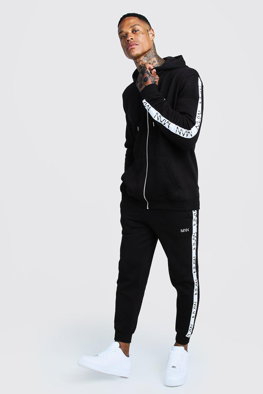 Купить Tracksuits, Оригинальный спортивный костюм с вышивкой и боковыми полосами-вставками из коллекции MAN, boohoo