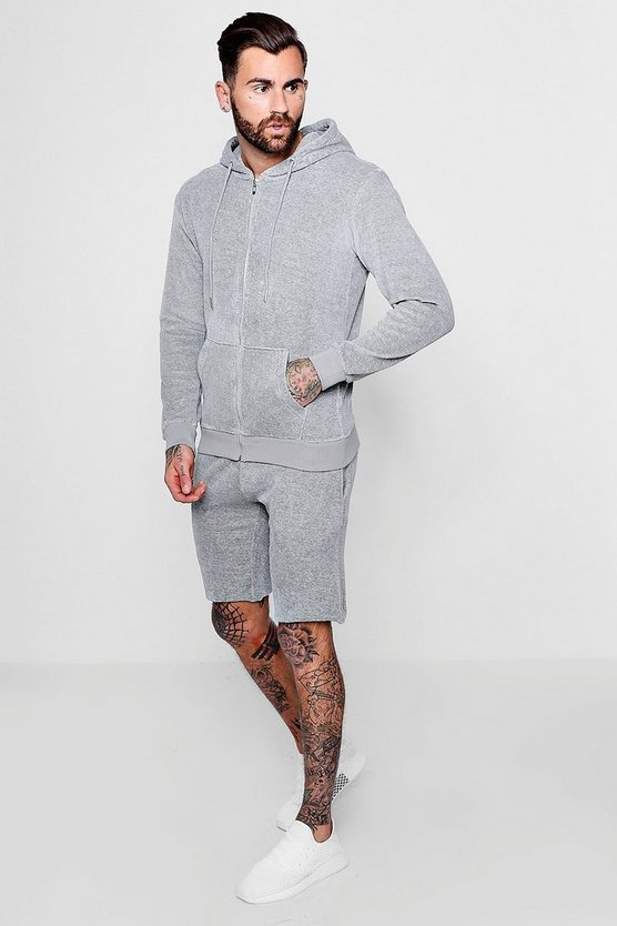 Velour Zip Hooded Short Tracksuit