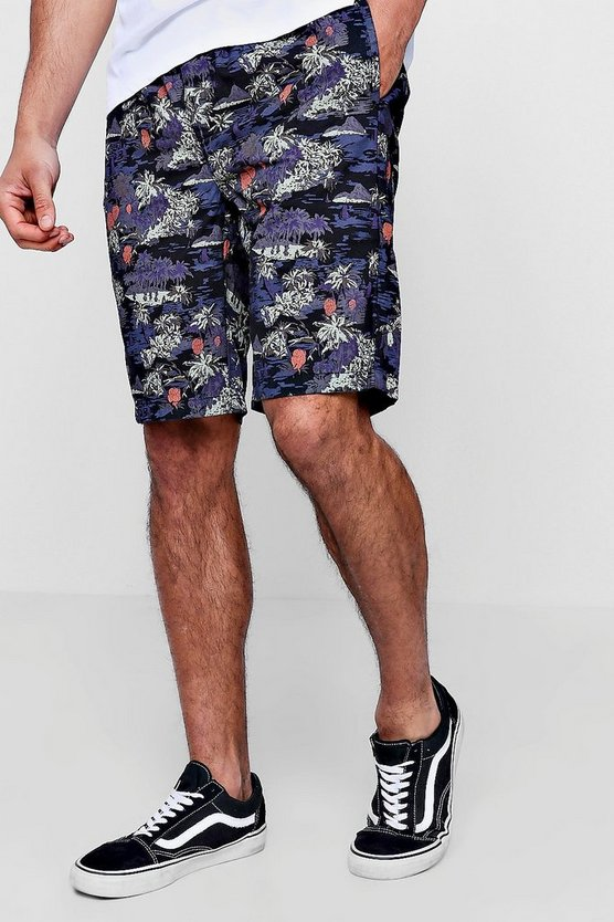 Black Hawaiian Print Chino Short