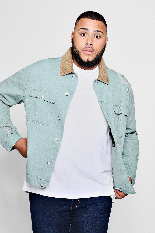 Купить Coats & Jackets, Джинсовая куртка с потертостями из коллекции Big and Tall, boohoo
