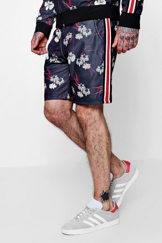 Oriental Floral Sport Tape Shorts Co-ord