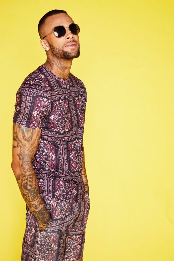 Baroque Print Muscle Fit Tee Co-ord