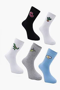 5 Pack Novelty Design Sport Socks