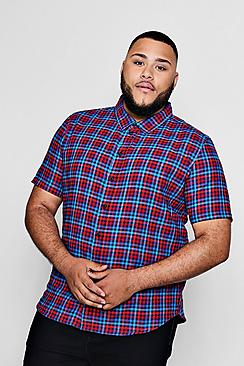 Big And Tall Checked Gingham Short Sleeve Shirt