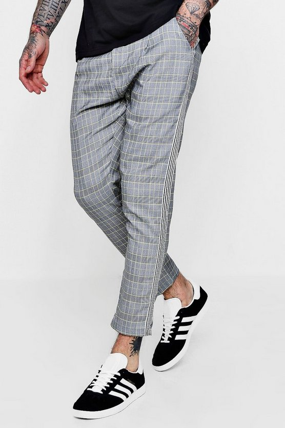 Smart Checked Cropped Joggers With Taping