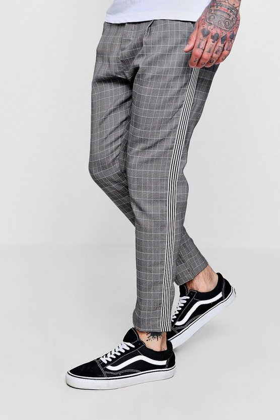 Smart Checked Cropped Jogger With Taping