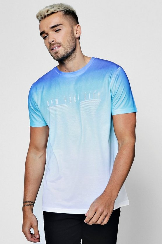 Blue Ombre T Shirt With Slogan by Boohoo
