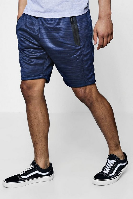 Mid Length Contrast Zip Shorts