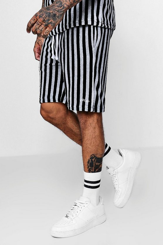 MAN Signature Velour Mid Length Short Co-ord