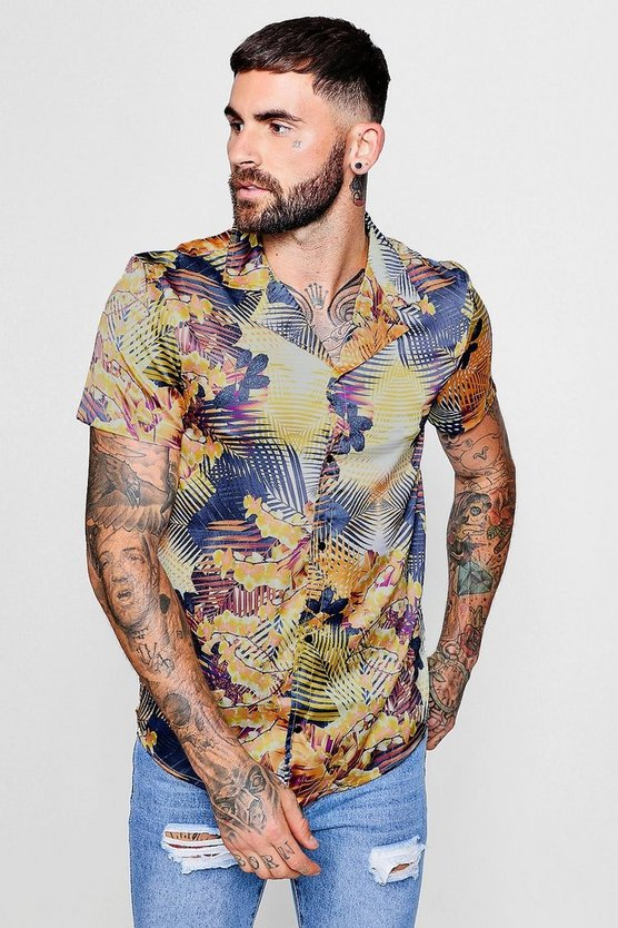 Tropical Leaf Print Revere Short Sleeve Shirt