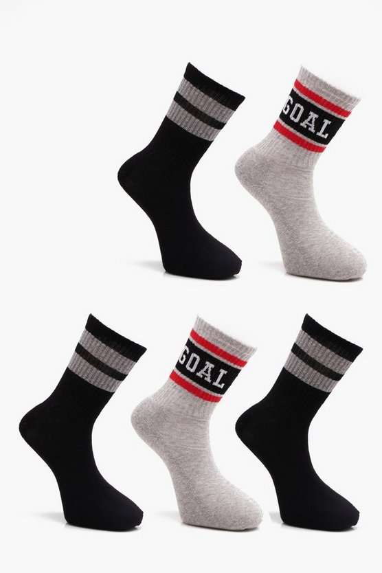 5 Pack Sport Rib Socks With Slogans & Stripes