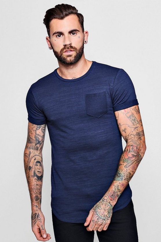 Curved Hem Washed Cotton T-Shirt With Pocket