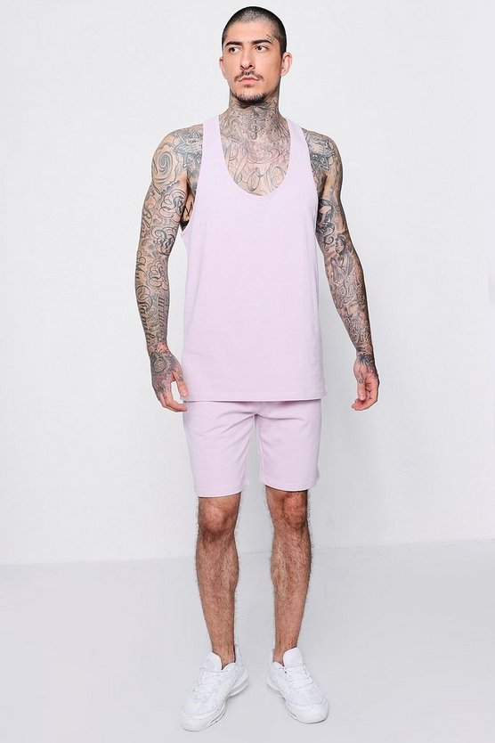 Pastel Racer Back Vest And Short Set