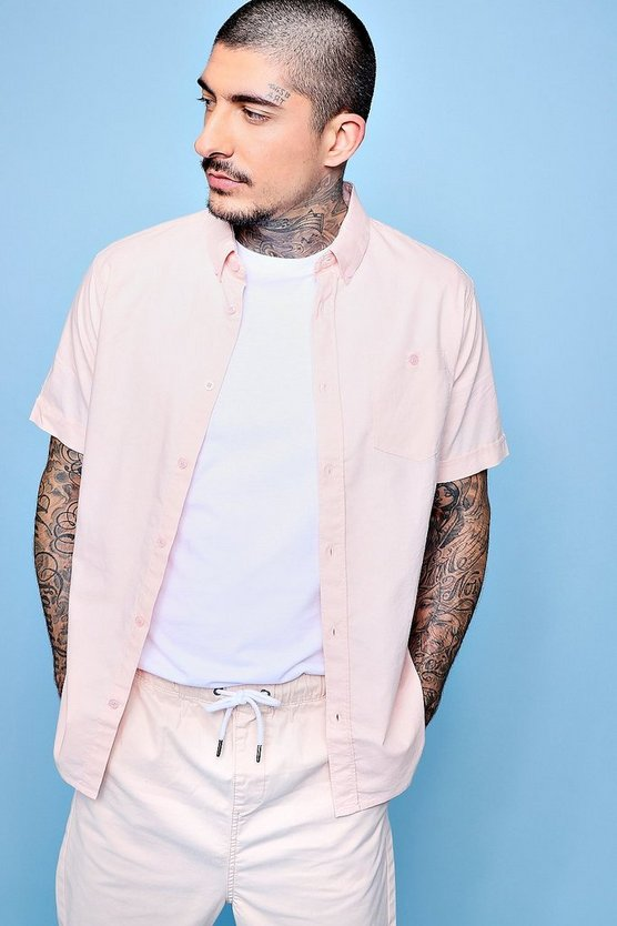 chemise oxford rose manches courtes