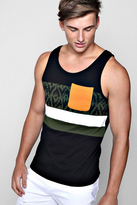 Printed Colour Block Vest
