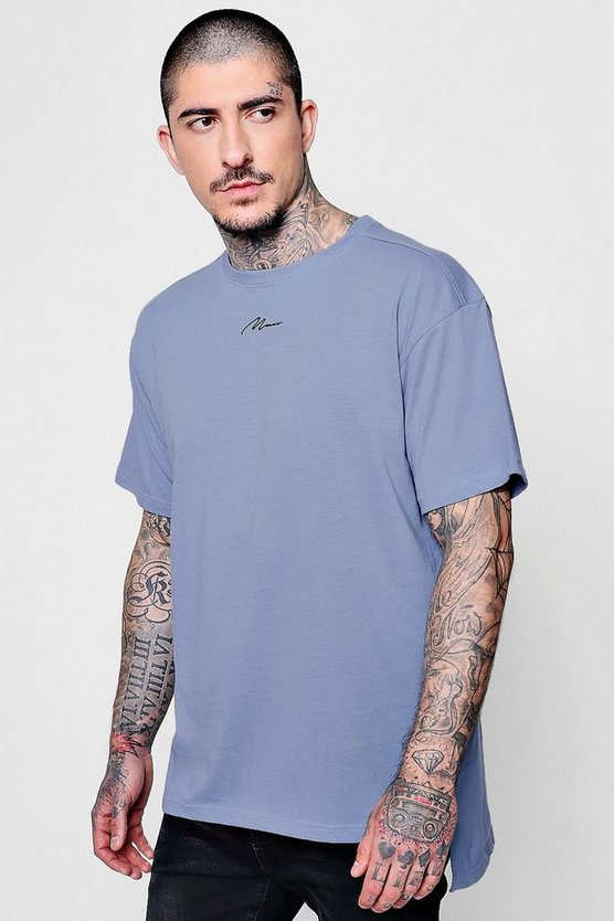 Loose Fit MAN Signature Embroidered T-Shirt