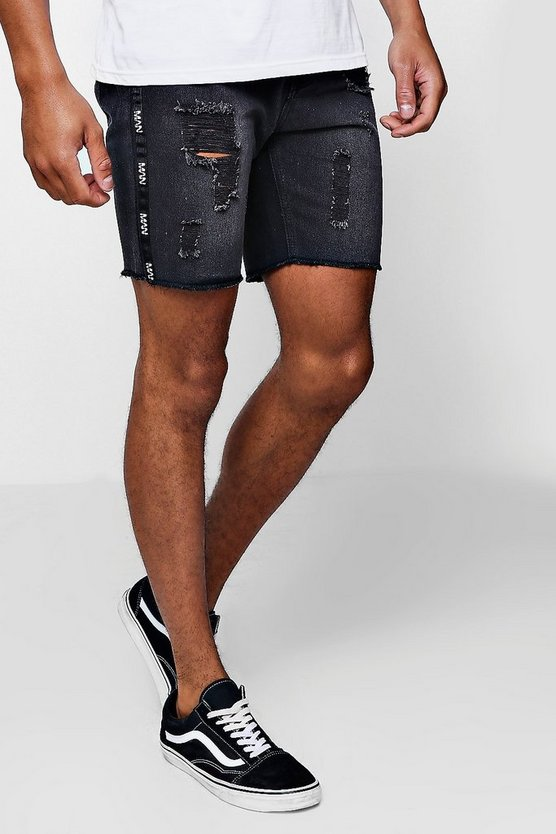 Slim Fit Denim Shorts With MAN Side Tape