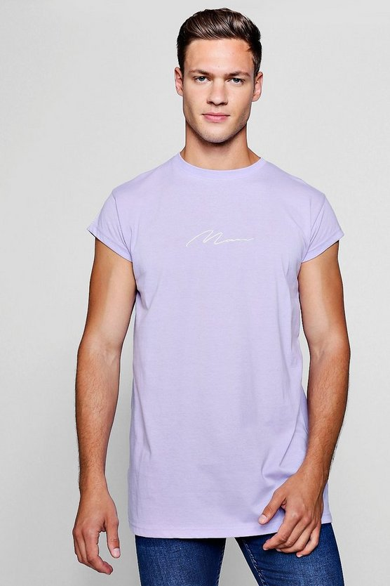 MAN Signature Embroidered Longline T-Shirt