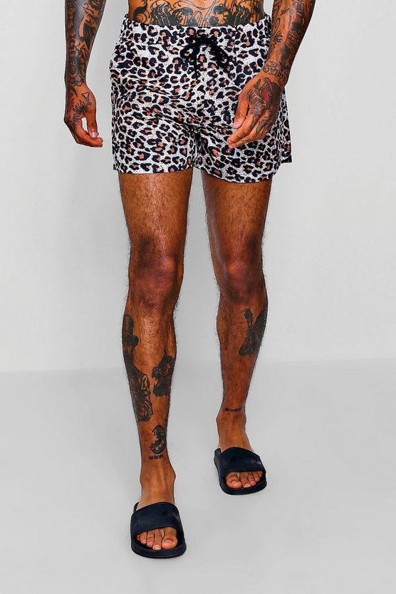 Animal Print Short Length Swim Shorts