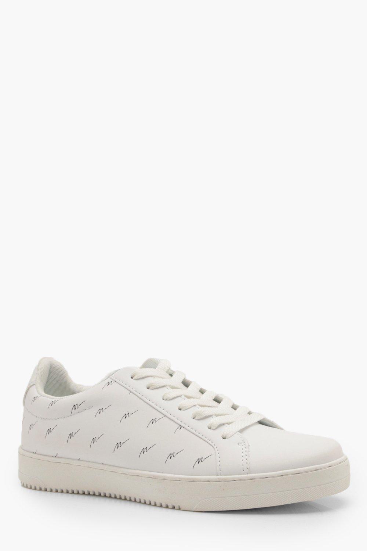 Фото #1: Белые кроссовки из полиуретана с принтом MAN