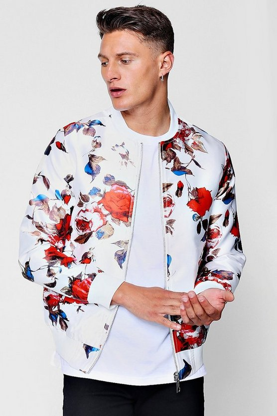 Floral Sateen Bomber