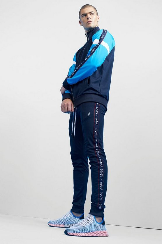 Pepsi x boohoo MAN Taped Funnel Neck Tracksuit