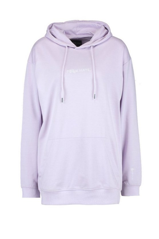 "Pride """"F**K Hate"""" Embroidered Loose Fit Hoodie by Boohoo"
