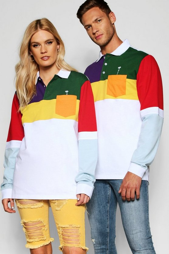 Pride Colour Block Long Sleeve Rugby Top