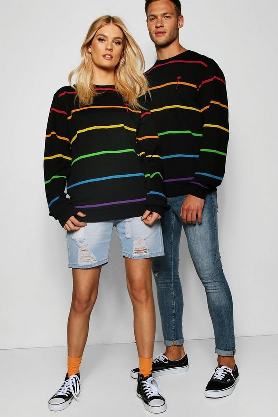 Pride Printed Sweater With Embroidered Chest by Boohoo