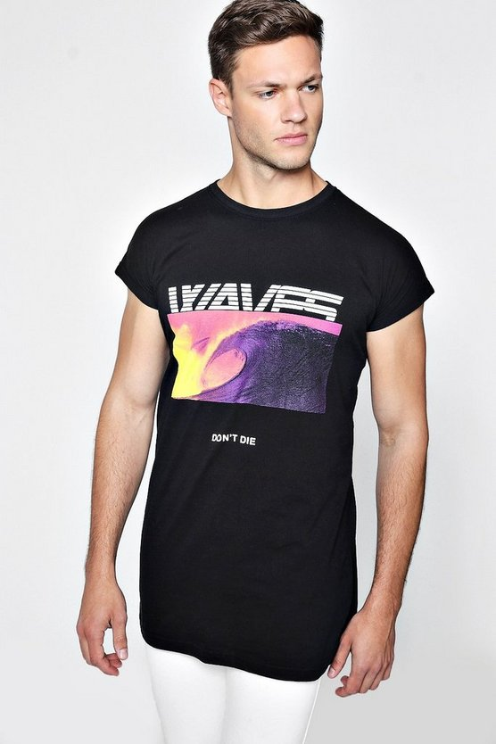 Longline Waves Print Cap Sleeve T-Shirt