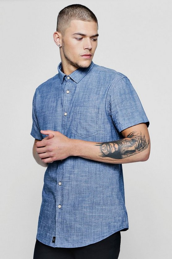 Short Sleeve Chambray Denim Shirt In Pale Blue