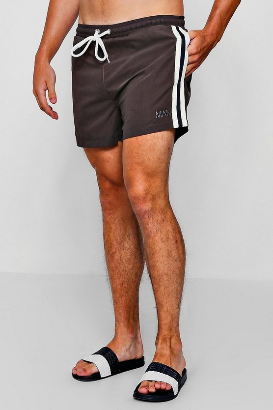 Khaki Mid Length Swim Short With Stripe Taping