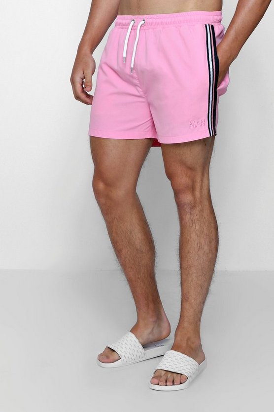 Pink Mid Length Swim Short With Stripe Taping