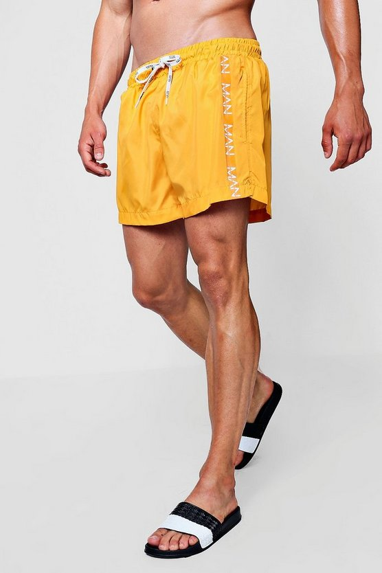 MAN Dash Side Tape Mid Length Swim Short